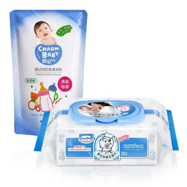【奇買親子購物網】貝恩BaanNEW嬰兒保養柔濕巾80抽24入箱+雪芙蘭親貝比嬰幼兒奶瓶清潔劑補充包600ml