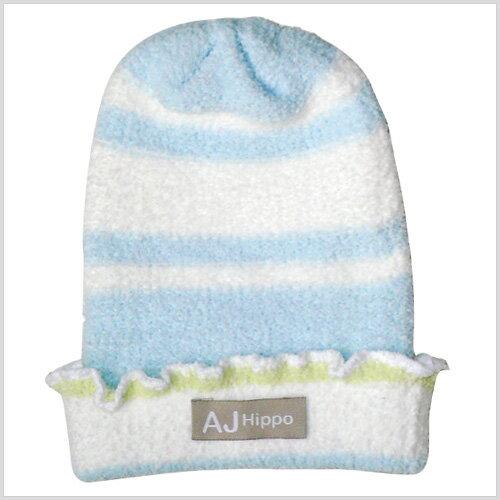 【AJ Hippo 】 小河馬 - 初生型針織嬰兒帽(藍/粉) 1