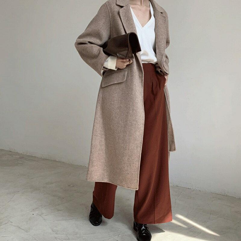 毛呢大衣羊毛外套-長版寬鬆簡約純色女外套3色73wb26【獨家進口】【米蘭精品】 0