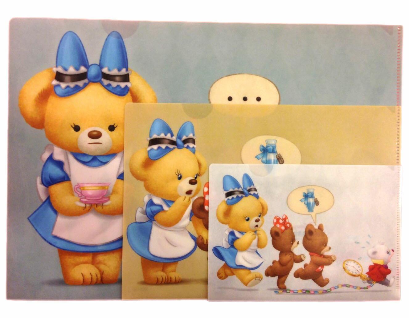 【真愛日本】 16070800059專賣店資料夾3入-大學熊變裝艾莉絲藍  迪士尼專賣店限定 資料夾 文件夾 文具用品