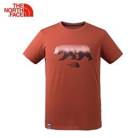 [THENORTHFACE]男FlashDry加州熊印花短上衣磚紅公司貨NF0A3CJXZBN