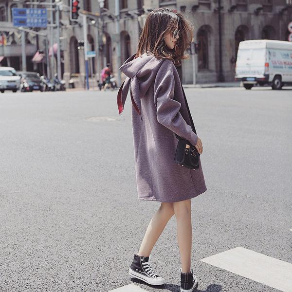 PS Mall 中長款寬鬆連帽休閒兔耳造型外套 大衣【T1760】 - 限時優惠好康折扣