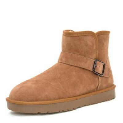 雪靴 中筒靴子-超暖純色好搭反絨男鞋子72af9【獨家進口】【米蘭精品】