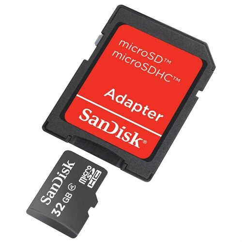 SanDisk 32GB microSDHC Class 4 32G microSD High Capacity micro SDHC C4 TF Flash Memory Card SDSDQ-032G Retail + SD Adapter 1