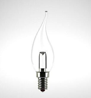 ★凌尚★拉長尾尖頭透明LED蠟燭燈燈泡E14燈頭★白光