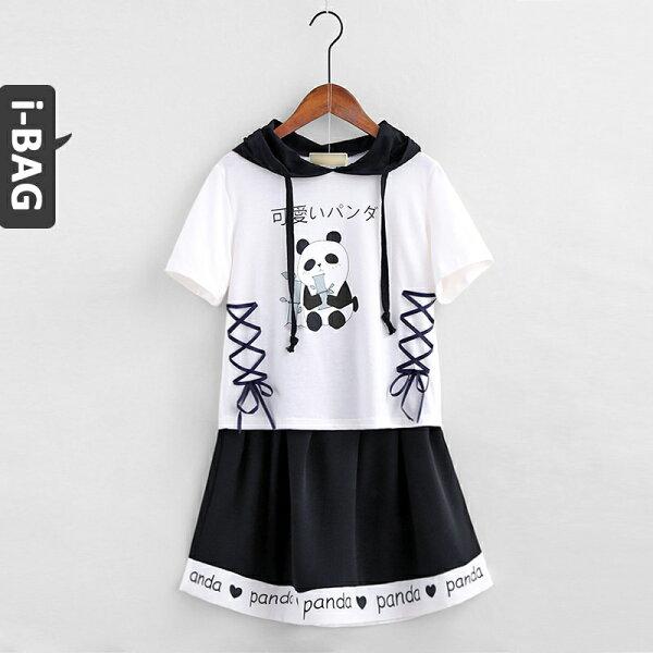B.A.G*現+預*【DB1553】貓熊繫帶兩件式連帽短裙套裝(現+預)