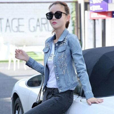 ☆牛仔外套短版夾克-奢華亮片珍珠造型女外套73iu122【獨家進口】【米蘭精品】