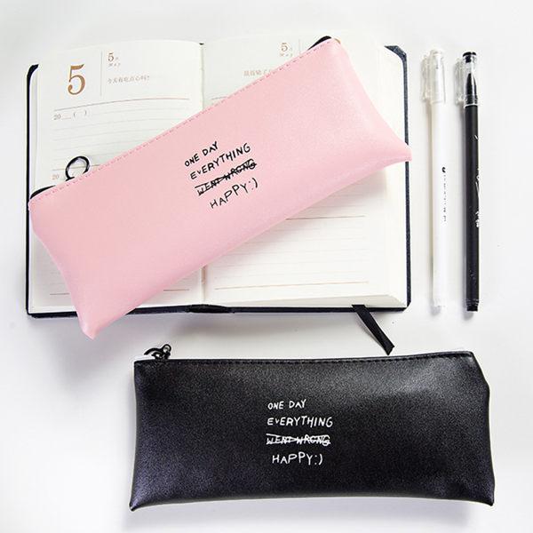 簡約純色個性皮質鉛筆袋學生文具鉛筆盒【庫奇小舖】