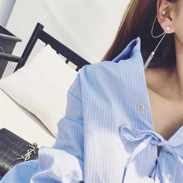 PS Mall 韓版時尚氣質金屬鏈條流蘇珍珠鑲鑽單只耳掛耳環耳墜耳墜耳夾耳骨夾 【G2227】