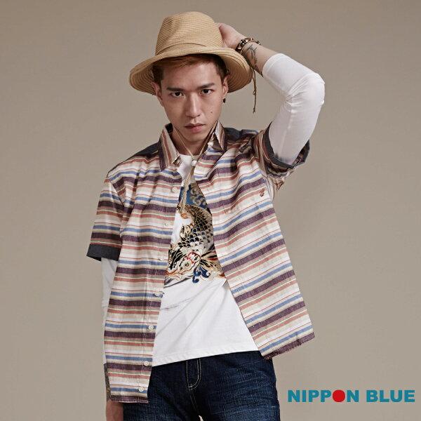 日本藍復古風橫條紋短袖襯衫-BLUEWAYNIPPONBLUE日本藍