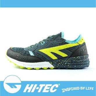 萬特戶外運動 HI-TEC 巴德沃特 BADWATER A005440033 男超輕野跑鞋 透氣 耐磨 舒適 緩衝性佳深藍/螢光黃色