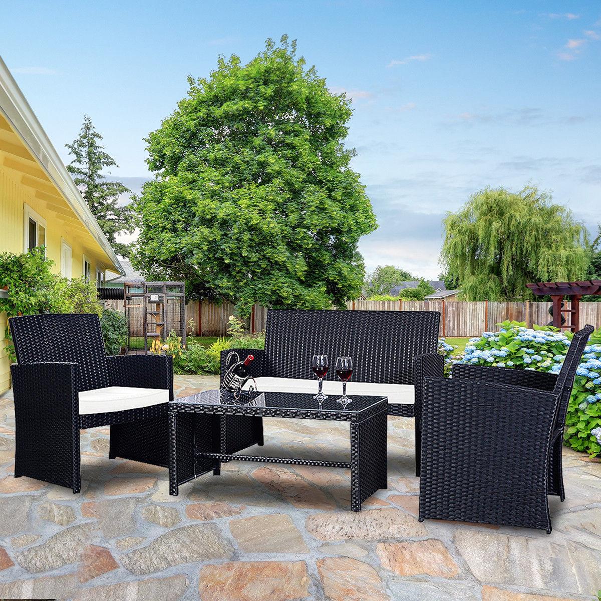 Costway 4 Pc Rattan Patio Furniture Set Garden Lawn Sofa Wicker Cushioned Seat Black 0