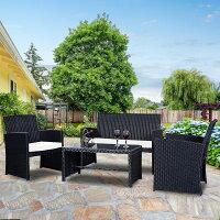 Costway 4 Pc Rattan Patio Furniture Set Garden Lawn Sofa Wicker Cushioned Seat Black