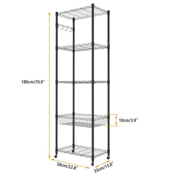 5-Tier Steel Shelving 71inch Height with Wheels 3