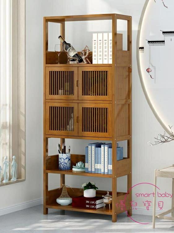 書櫃 簡易書架簡約現代帶門書櫃創意組合櫃博古書架中式落地實木儲物櫃【快速出貨】  七色堇 元旦 交換禮物
