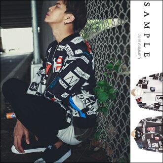 現貨 寬版 立領夾克【SA13725】街頭風 整件單字印花尼龍風衣外套【Sample】