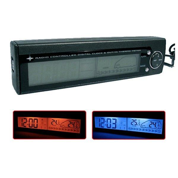 權世界@汽車用品 日本 Kashimura DC點煙器式 電子鐘及車內外溫度計 AK-19