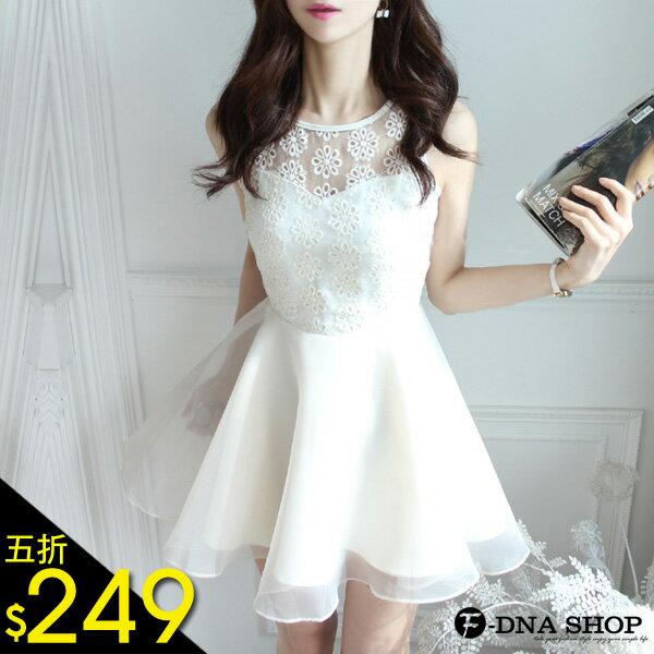 F~DNA~縷空花朵歐根紗蓬蓬紗裙背心裙洋裝^(2色~ML^)~ESD1225~ ~  好