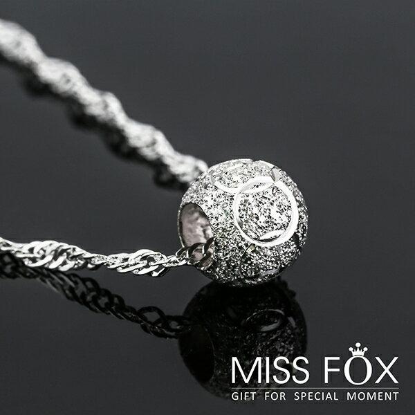 鍍925純銀項鍊 玲瓏銀球 鐫刻項鍊 MISSFOX JJ0192
