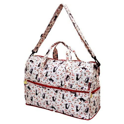 【真愛日本】18050800025 旅行用可收納旅行袋-JIJI櫻桃 宮崎駿 魔女宅急便 奇奇貓 旅行袋 側背包