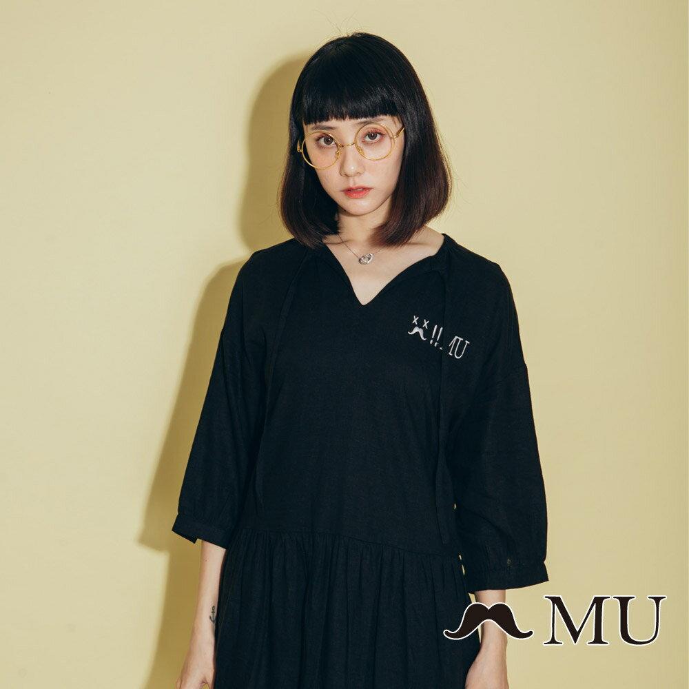 【MU】領口綁繩娃娃寬鬆休閒洋裝(2色)8313263 4