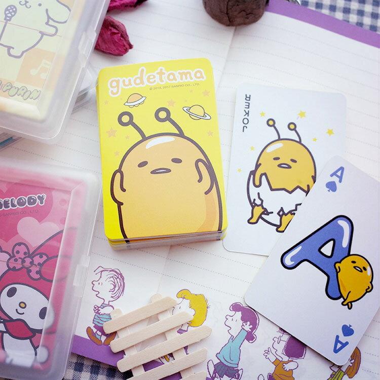 PGS7 三麗鷗系列商品 - 三麗鷗 塑膠 盒裝 撲克牌 Kitty 蛋黃哥 美樂蒂 布丁狗 撲克【SFB7081】