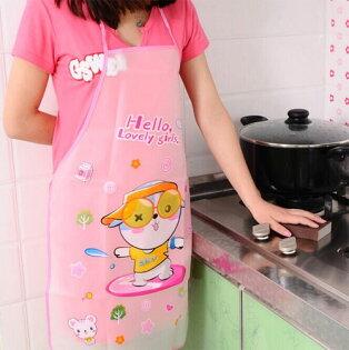 可愛卡通防水防油圍裙韓版時尚廚房無袖圍裙