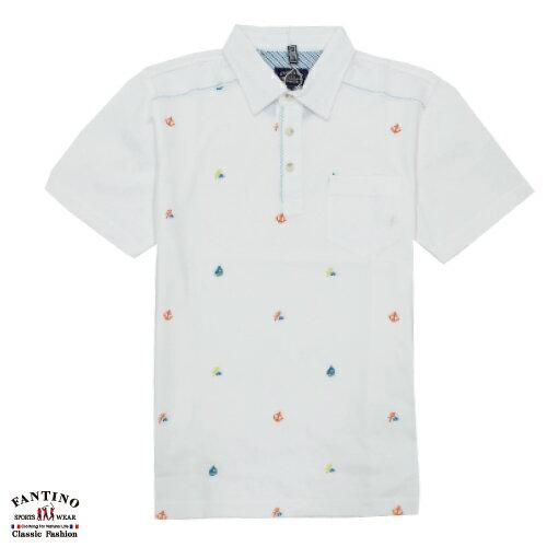 【FANTINO】男裝 夏日海洋風80支雙絲光棉POLO衫 (白.丈青) 531347-531348 3