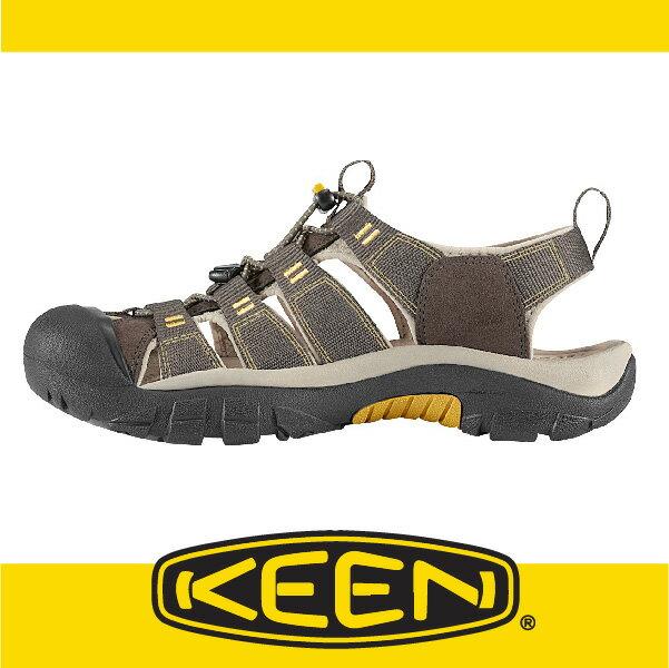 萬特戶外運動-美國KEEN NEWPORT H2 戶外護趾涼鞋 織帶 男款 深灰/黃 163-1008399