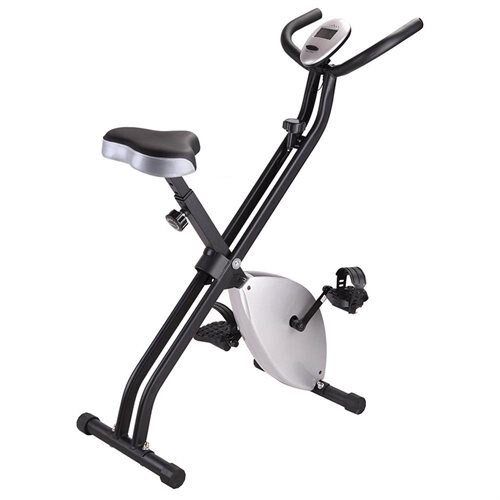 Folding Magnetic Upright Exercise Bike LCD Display Fitness Indoor Cycling Trainer Silver 1