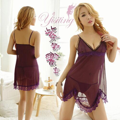 情趣用品 內衣褲 紫戀饗宴!優美兩件式蕾絲滾邊情趣睡衣