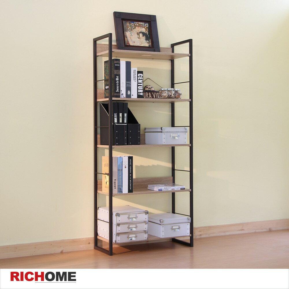 RICHOME居家生活館 里斯特3D木紋五層架(咖啡鐵管)  置物架/ 書架/ 層架【SH481】RICHOME