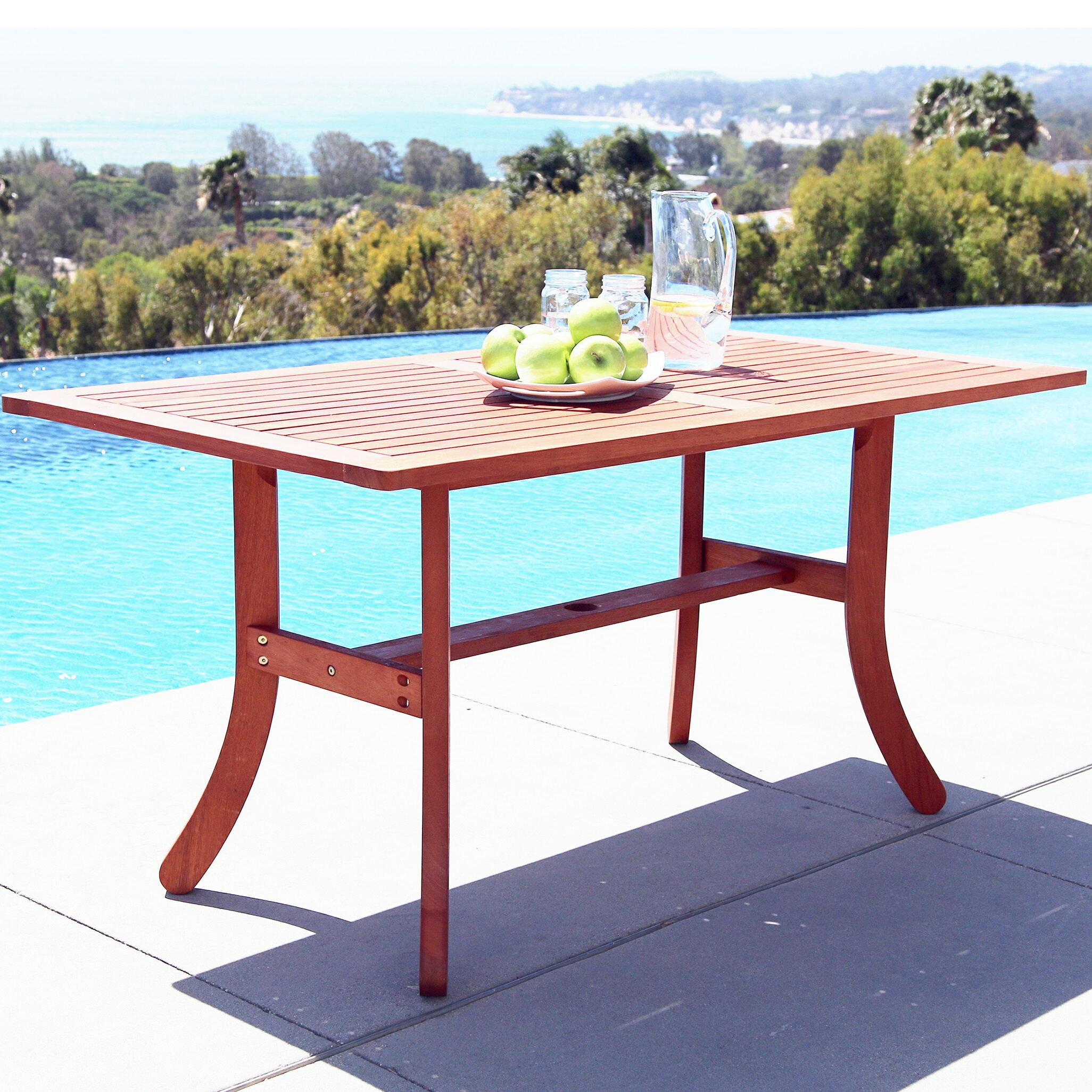 Vifah: Malibu Outdoor 5-piece Wood Patio Dining Set with Curvy Leg ...