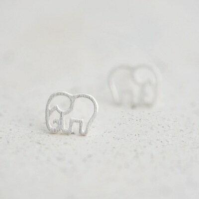 ~925純銀耳環耳飾~磨砂霧面鏤空小象生日情人節 女飾品73gk39~ ~~米蘭 ~