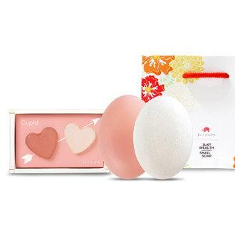 <br/><br/>  邱比特二大一小粉白優惠組 蝸牛液美容手工皂 100 g x 2 + 30 g x2<br/><br/>