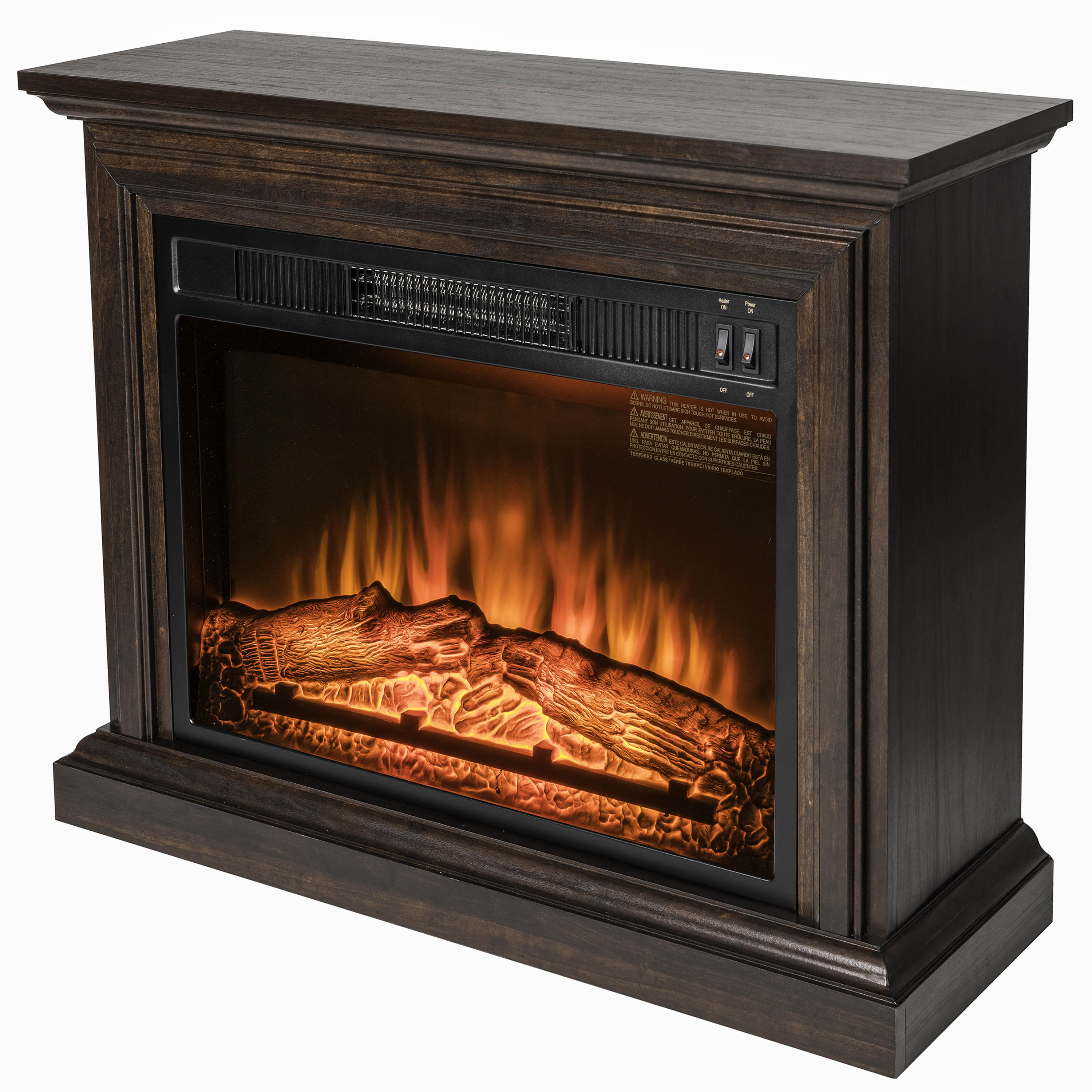 "AKDY 32"" Brown Wooden Mantel Freestanding Electric Fireplace Stove Heater 2"