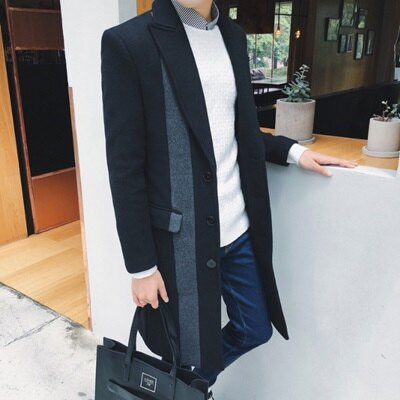 風衣外套中長版翻領大衣-英倫時尚紳士品味男外套73ip25【獨家進口】【米蘭精品】