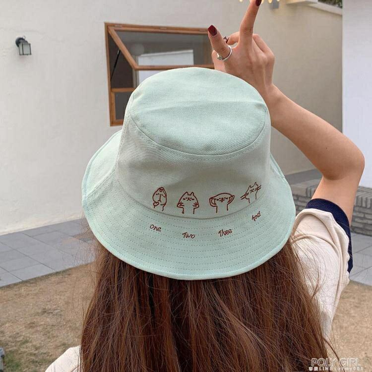 帽子女夏天網紅韓版百搭日系漁夫帽甜美可愛時尚貓咪遮陽防曬軟妹