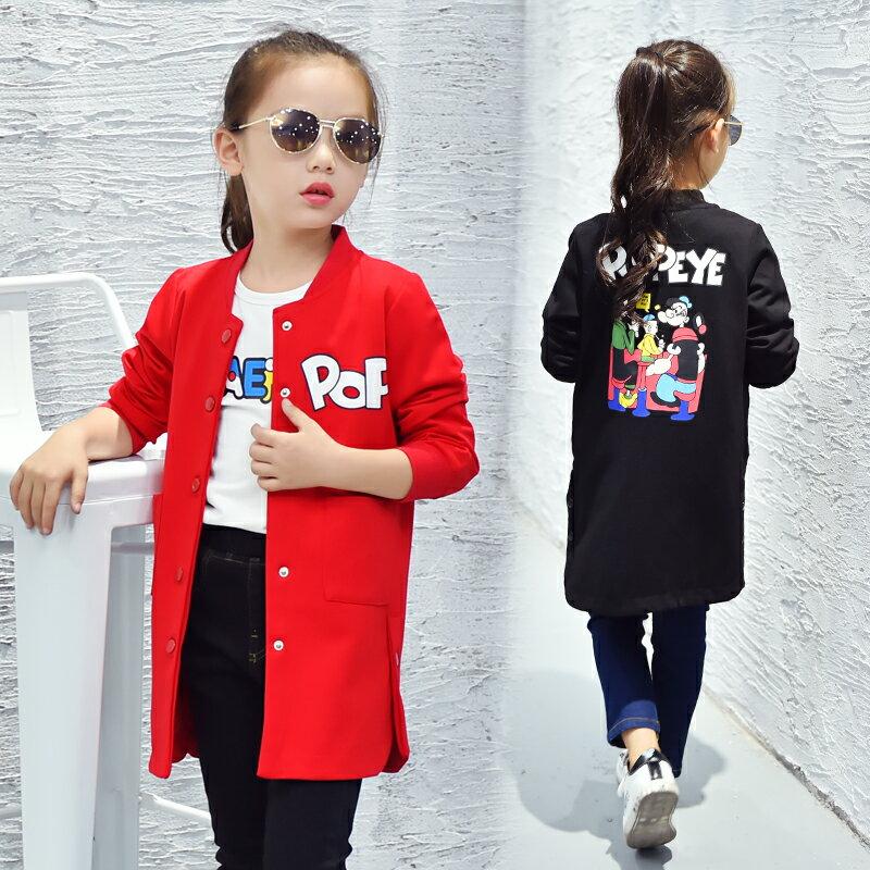 Q嫩童裝 韓版女大童大力水手女孩棒球服 外套 長版上衣 ZT005