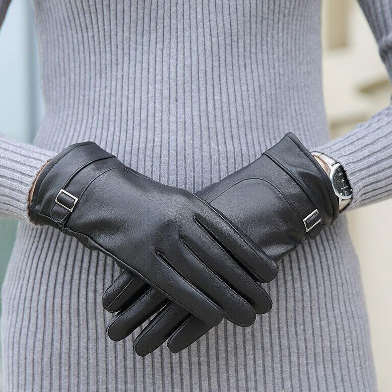 真皮手套保暖手套-羊皮加絨加厚搭扣女手套73wm70【獨家進口】【米蘭精品】 0