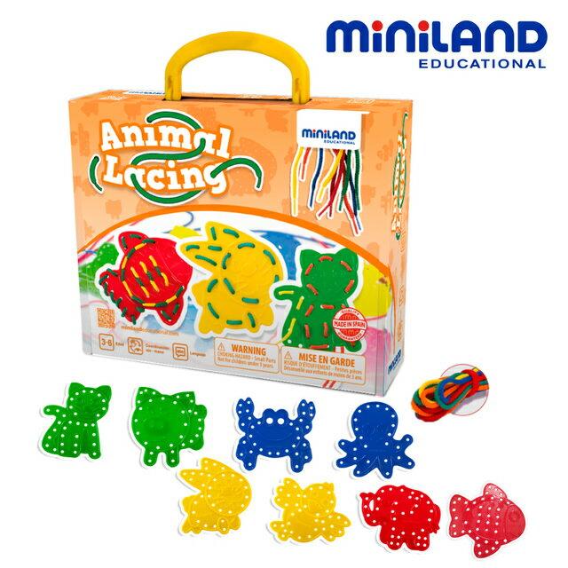 <br/><br/>  免運費【西班牙Miniland】可愛動物穿線串串樂 - 8入組<br/><br/>