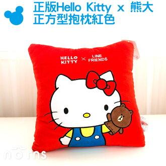 NORNS【正版Hello Kitty熊大 正方型抱枕 紅色】靠墊 枕頭 娃娃 玩偶 line friends 刺繡12吋