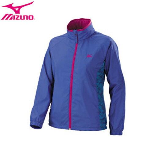 MIZUNO 美津濃(女)發熱內裡 迷彩印刷 風衣外套 32TE678324(藍紫)[陽光樂活]