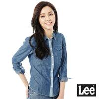 牛仔襯衫推薦到Lee 牛仔長袖襯衫 牛仔布拼接 -女款(淺藍)就在Lee Jeans tw推薦牛仔襯衫