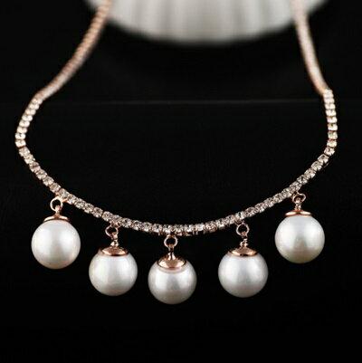 ~玫瑰金項鍊 珍珠純銀吊墜~精緻鑲鑽優雅古典生日情人節 女飾品73dw35~ ~~米蘭 ~