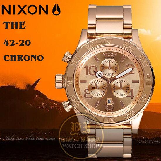 NIXON 實體店The 42-20 Chrono潛水腕錶ALL ROSE GOLD/A037-897公司貨/禮物/聖誕節