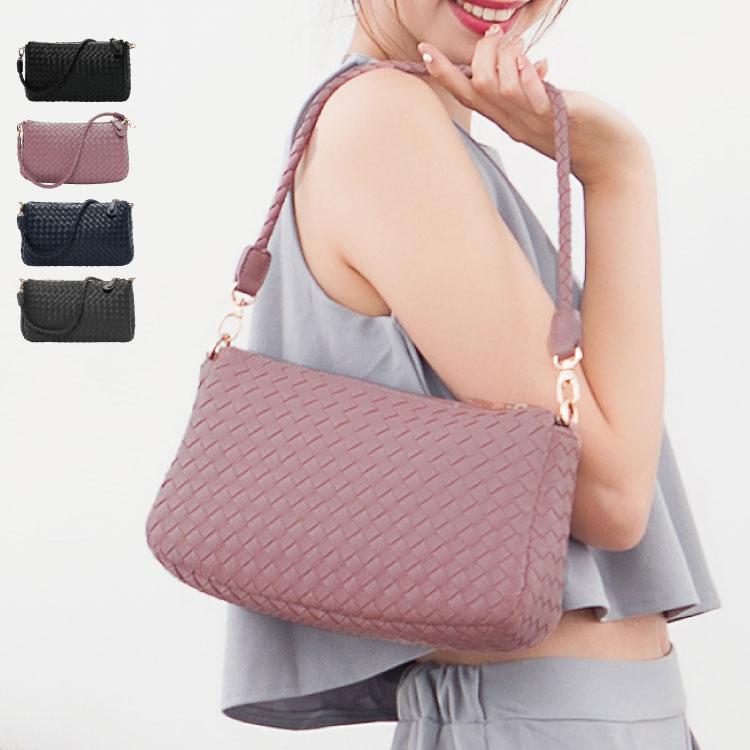 側背包 編織包 雙夾層兩用斜背包(附長帶) 女包  89.Alley ☀4色 4