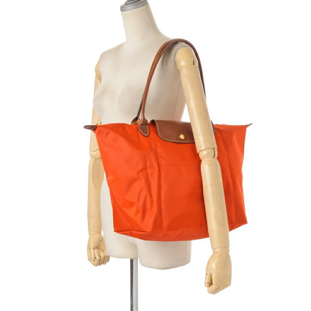 [長柄M號]國外Outlet代購正品 法國巴黎 Longchamp [1899-M號] 長柄 購物袋防水尼龍手提肩背水餃包 亮橘色 4