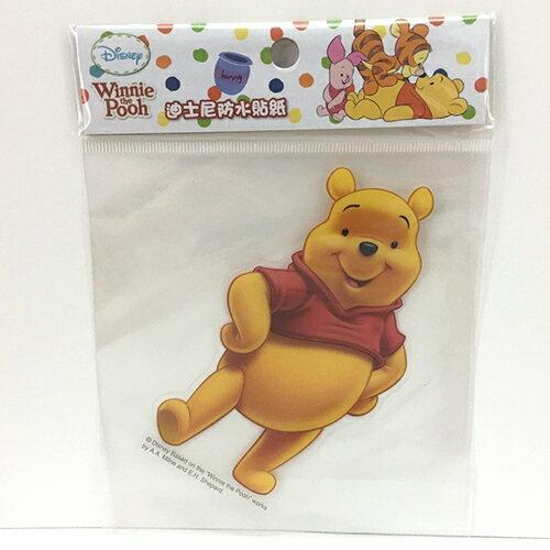 【真愛日本】13121100016 防水貼紙L-維尼插腰 迪士尼 維尼家族 POOH 行李箱裝飾貼紙