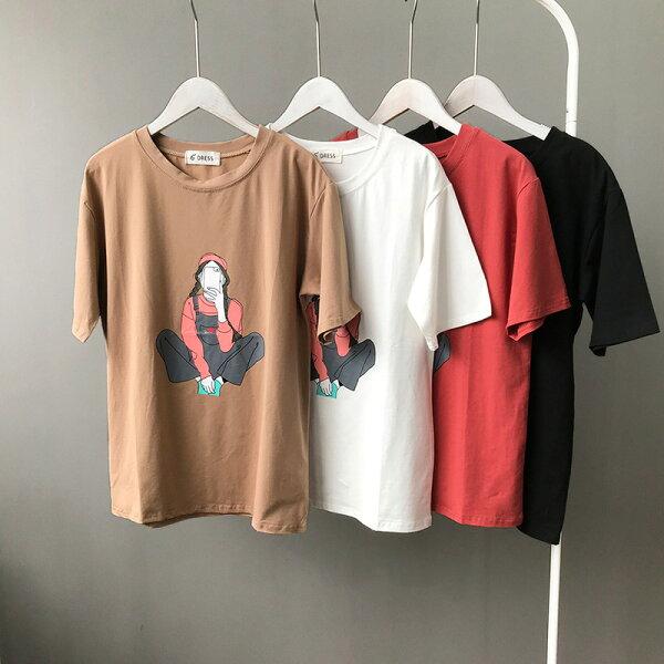 純棉印花短袖上衣T恤樂天時尚館。預購。[全店免運]